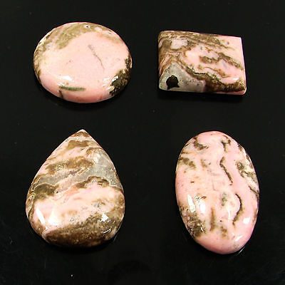 177.35 Ct Natural Pink Rhodochrosite Loose Gemstone Cabochon Lot of 4 pcs -15532
