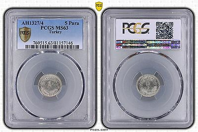 PCGS MS63 Turkey Ottoman Empire AH1327/4 5 Para Coin Rare!!!