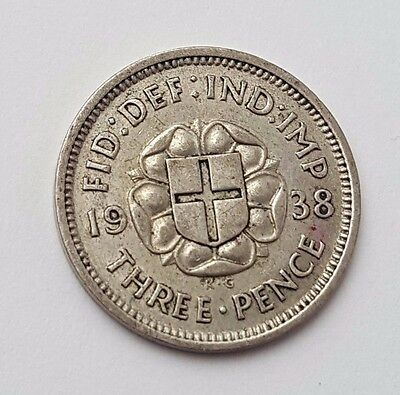 Dated : 1938 - Silver - Threepence / 3d - Coin - King George VI - Great Britain
