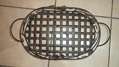 Vintage french ornate metal woven tray