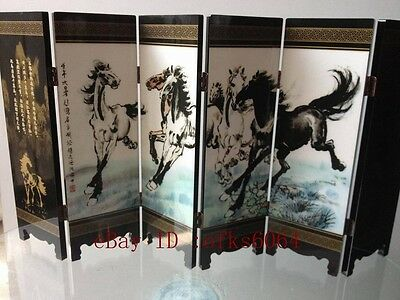 Boutique collection Lacquer ware painting beauty folding screen8-horse picture