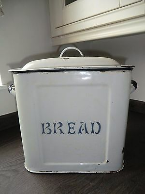 Vintage Retro Large English Enamel Bread Bin Box white with black trim