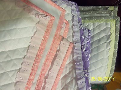 homemade baby quilts, pink, purple, yellow/grey, eyelet, PERSONALIZED