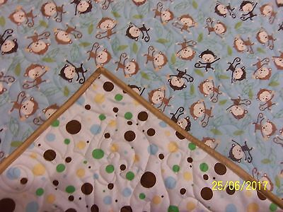 homemade baby quilts, MONKEYS/POLKA DOTS- PERSONALIZED
