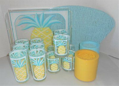 Vintage H J Stotter Plastic Pineapple Set Tray Glasses Coasters Placemats