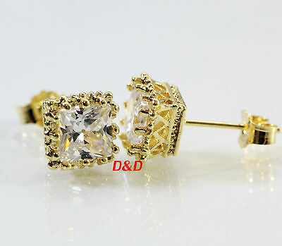 8mm 14k Yellow Gold Filled Real Silver Square Cubic  Zirconia Studs Earrings