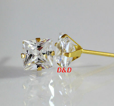 6mm 18K Gold 316L Surgical Stainless Steel Square Unisex Stud Earrings