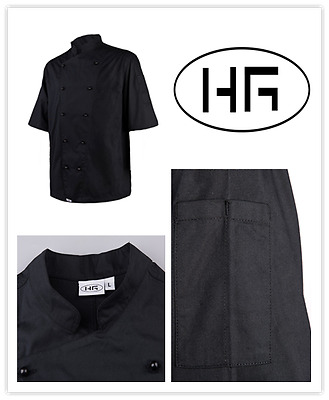 Chef Jacket Short Sleeves Classic Black Uniform Poly-cotton Hospitality Garments