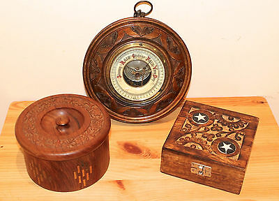Vintage collection of wooden items and a barometer