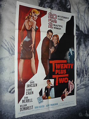 Twenty Plus Two 27X41 Orig 1961 Vintage 1 Sheet David Janssen  Rare.