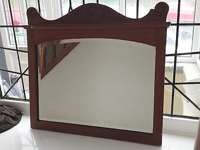 Antique Carved Wooden Dresser Mirror Wall Mounted Vintage Retro Rustic