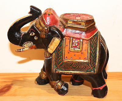 Antique/vintage Indian beautifully decorated wooden elephant