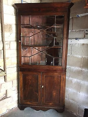 Antique Georgian Corner Cupboard with Solid Base and Glazed Top