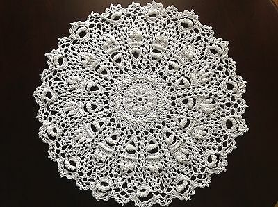 """new hand crocheted doily 14.5"""" with twist"""