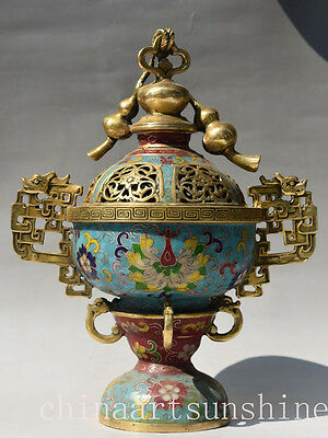 Chinese Exquisite Cloisonne Incense Burner Handmade Carved Gourd Art Home decora