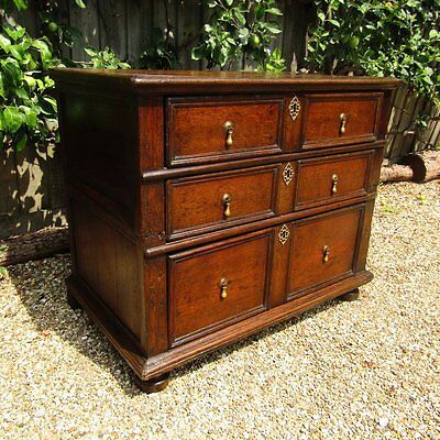 Very small early joined chest of drawers. English. Oak. c.1670