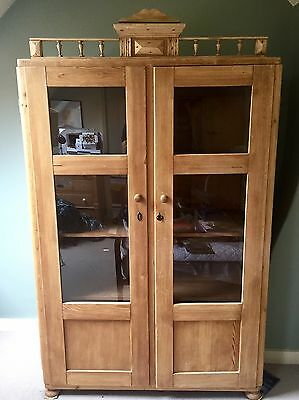 Vintage Glazed Pine Cupboard French Shabby Chic