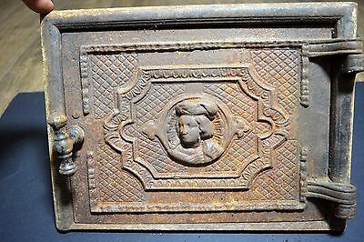Antique Old Authentic with Rust Figural Ornate Cast Iron Fireplace Stove Door