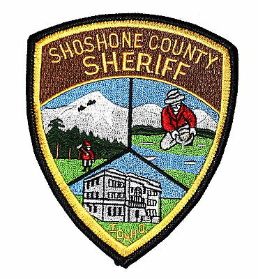 SHOSHONE COUNTY IDAHO ID Police Sheriff Patch GOLD MINER LOGGER COURTHOUSE ~