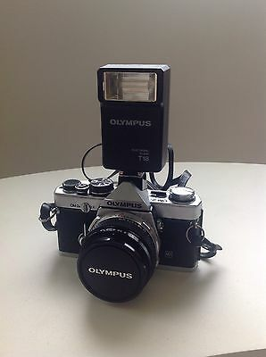 Olympus Om 2n Camera and Three Lenses Flash Case and Bag
