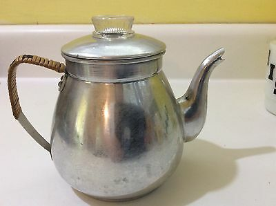 Vintage aluminum teapot with insert glass knob woven handle Japan