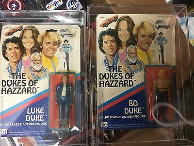 "Dukes of Hazzard Luke & Bo Duke 3 3/4"" action figure on card-Mego 1981 NIP"