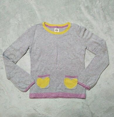 Girls Mini Boden SIze 7-8 Soft Light Gray Sweater With Yellow Hearts