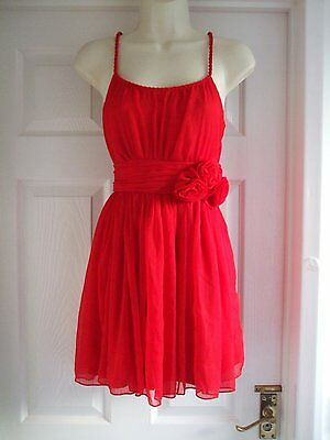size 10 red dress womens Evening Summer Party Cocktail Ladies Occasion Work