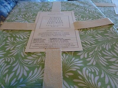 "Williams Sonoma Scroll floral green round 90""  tablecloth New"