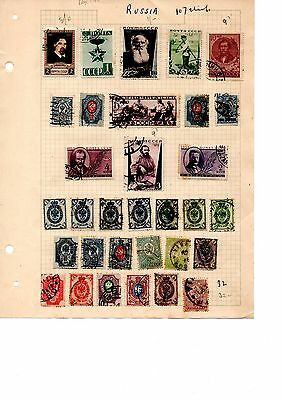 early russia stamps on old album pages unchecked