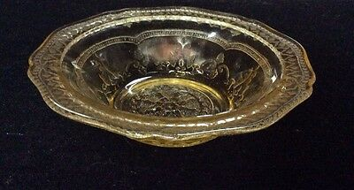 """Vintage Amber Yellow Desert or Berry Depression Glass Bowl - 1930's 5-1/8"""" dia"""