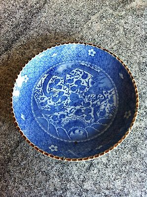 ANTIQUE CHINESE PORCELAIN BLUE AND WHITE PLATE WITH FLOWERS Dragon