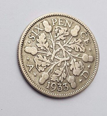 Dated : 1933 - Silver - Sixpence / 6d - Coin - King George V - Great Britain