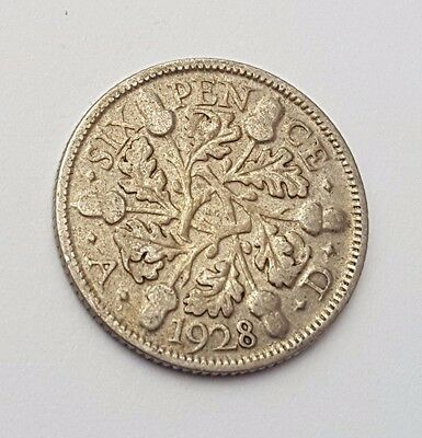 Dated : 1928 - Silver - Sixpence / 6d - Coin - King George V - Great Britain