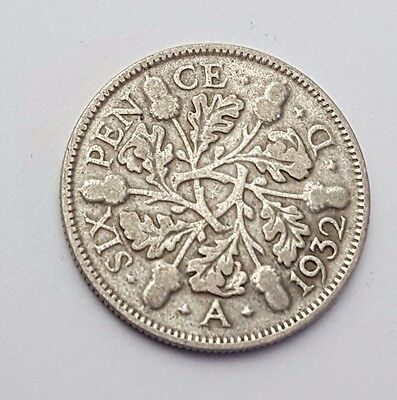 Dated : 1932 - Silver - Sixpence / 6d - Coin - King George V - Great Britain