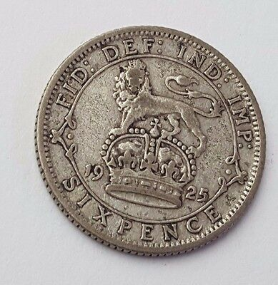 Dated : 1925 - Silver - Sixpence / 6d - Coin - King George V - Great Britain
