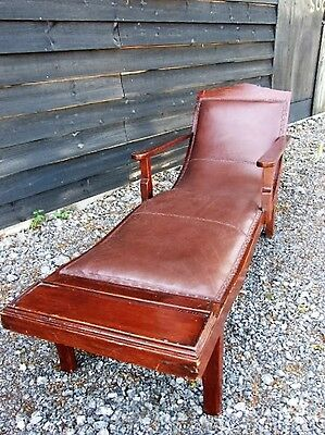Mid Century French Leather Lounger Daybed Chaise Steamer Chair