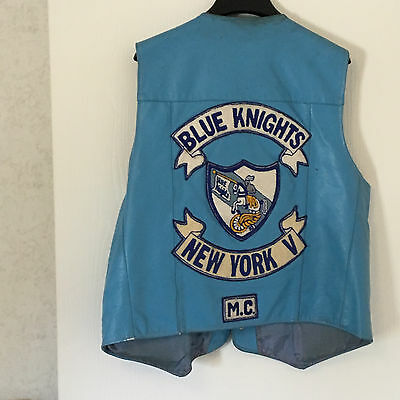 Blue Knights Leather Motorcycle Vest MEN'S Size 48r with Button extenders
