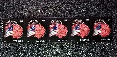2014USA #4854 Forever Star Spangled Banner PNC - Coil Strip of 5 (APU)  #P1111