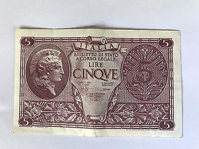 1944 5 Lire Italy Currency banknote money Europe WW2 WWII Italian