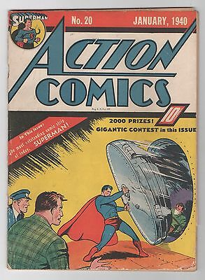 Action Comics #20 (Jan 1940, DC) Low grade Incomplete