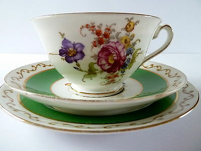 Foley China Trio--Flower Bouquet--Green Lines--Cup Saucer Plate