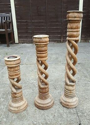 Set of 3 Vintage Wooden Twist Candlesticks