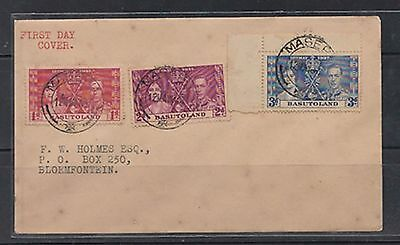 basutoland coronation complete set of stamps 1937 on cover    a49.3