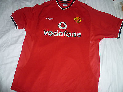 manchester united fc football shirt 2000/2002 size L large