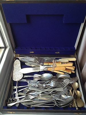 Large Mixed Cutlery Bundle With Box Silver Plated Bone Handle Tongs Fish Desert