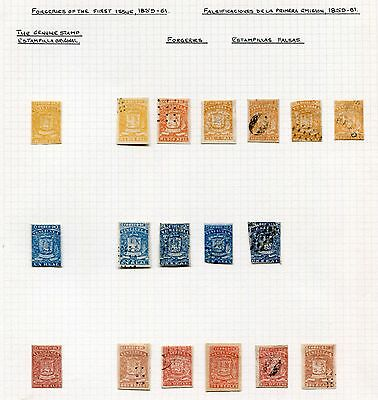 VENEZUELA -  First Issue specialized with Forgeries, MH/Cancelled