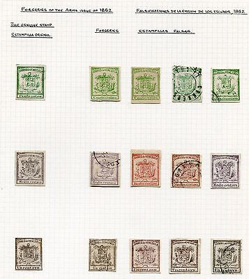 VENEZUELA 1862 -  Arms Issue specialized with Forgeries, MH/Cancelled