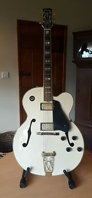 Vintage Encore Electric Archtop White Hollowbody Copy of Gretsch Jazz Guitar