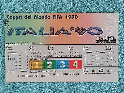 1990 - ORIGINAL WORLD CUP SEMI FINAL MATCH TICKET - WEST GERMANY v ENGLAND